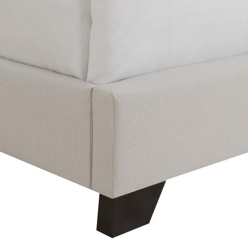 Tufted Nailhead Trimmed King Bed in Warm Gray