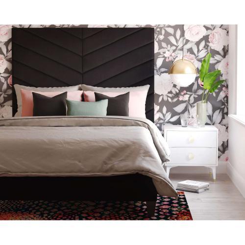 Javan Black Velvet Bed in King