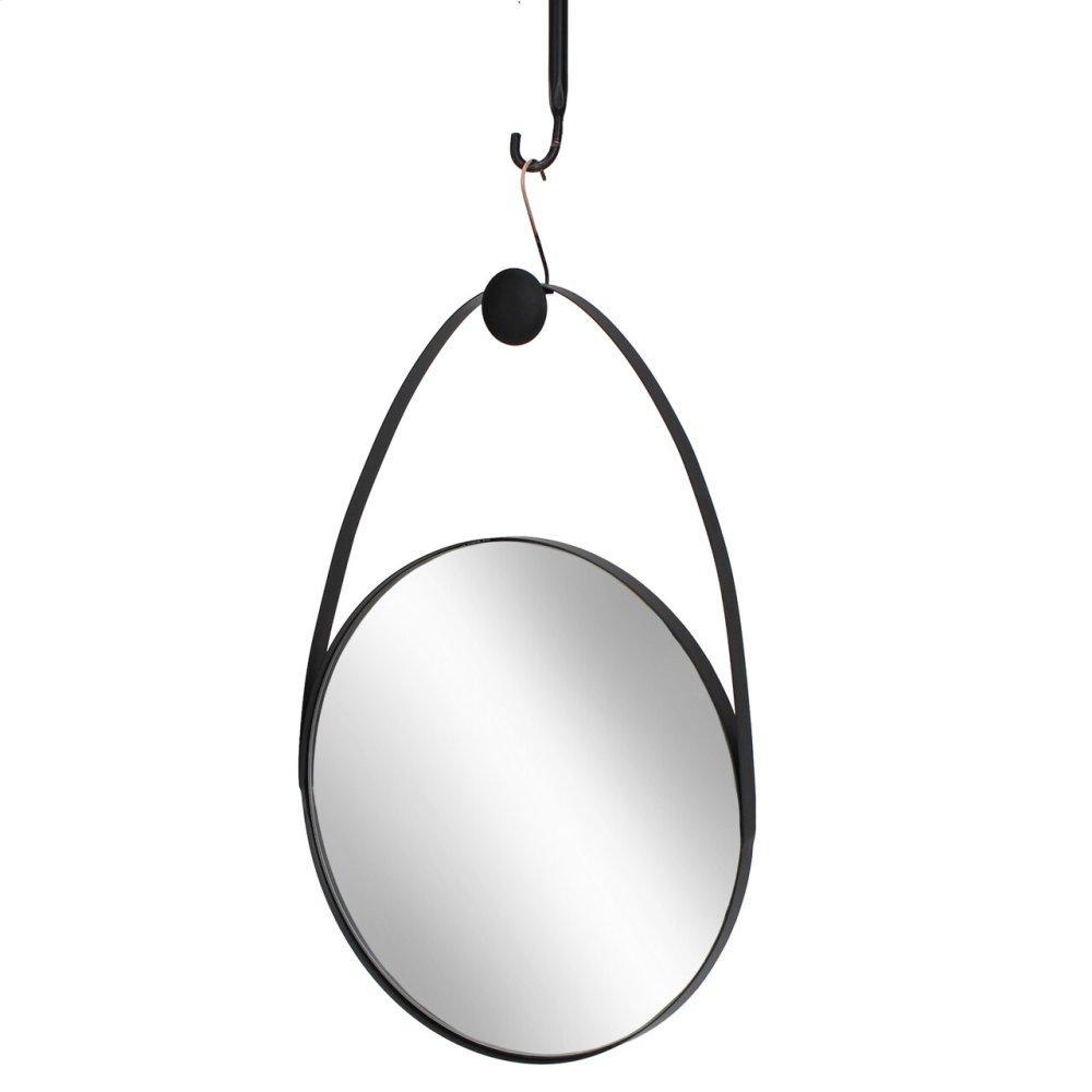 "Metal 27"" Oval Mirror, Black"