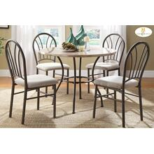 5-Piece Pack Dinette Set Table : 40 Dia x 29.5H Chair : 17 x 21.5 x 37.5H