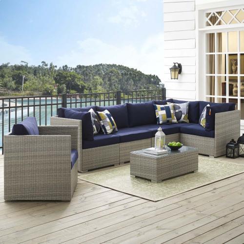 Repose 7 Piece Outdoor Patio Sunbrella® Sectional Set in Light Gray Navy