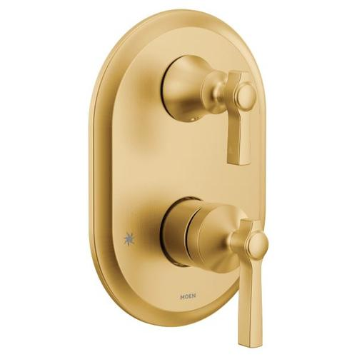 Flara brushed gold m-core 3-series with integrated transfer valve trim