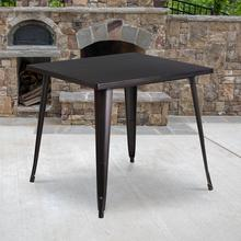 "Commercial Grade 31.75"" Square Black-Antique Gold Metal Indoor-Outdoor Table"