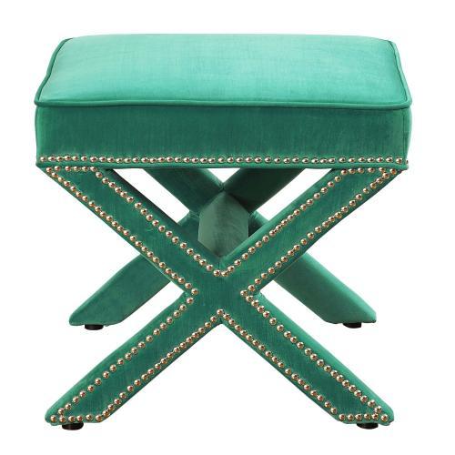 Tov Furniture - Reese Green Velvet Ottoman