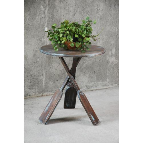 Boat Oar Accent Table - Blue Brush Finish