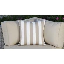See Details - Outdoor Throw Pillow - Beige and White Striped