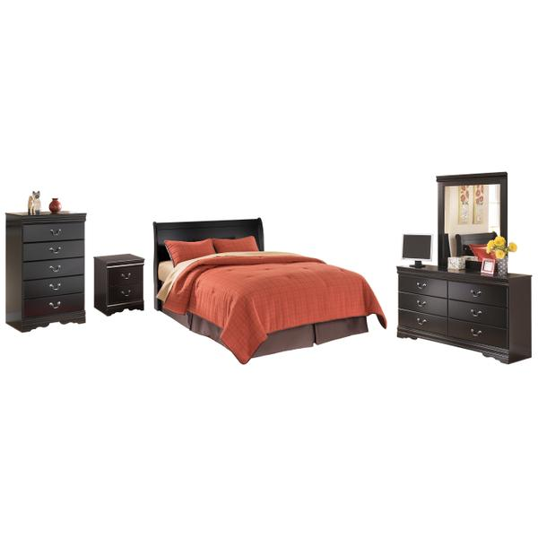 See Details - King Sleigh Headboard With Mirrored Dresser, Chest and Nightstand