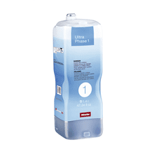 Miele UltraPhase 1 2-component detergent for whites and colors.