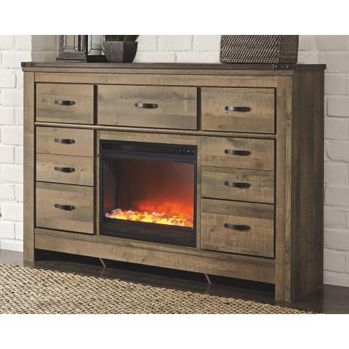 Signature Design By Ashley - Trinell Dresser With Fireplace