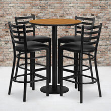Product Image - 30'' Round Natural Laminate Table Set with Round Base and 4 Ladder Back Metal Barstools - Black Vinyl Seat