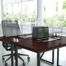 """Product Image - Clear Acrylic Desk Partition, 18""""H x 60""""L (Hardware Included)"""