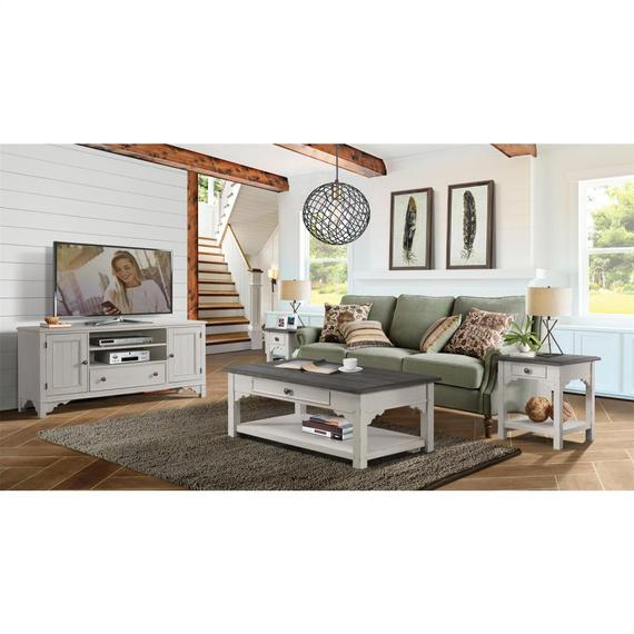 Riverside - Grand Haven - Square Side Table - Feathered White/rich Charcoal Finish