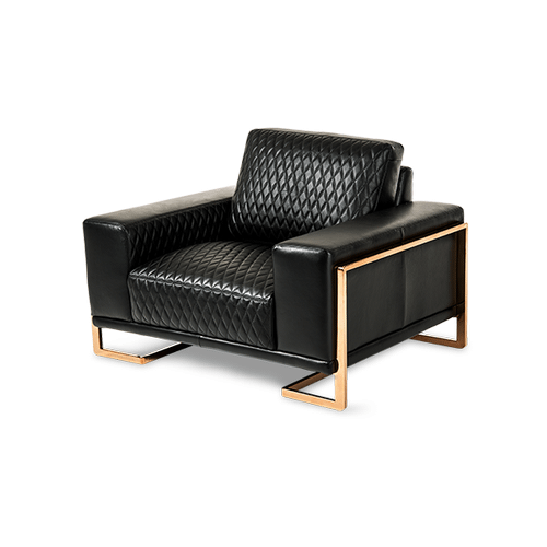 Gianna Leather Chair and Half in Black RoseGold
