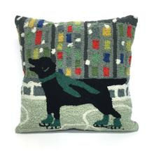 View Product - Liora Manne Frontporch Holiday Ice Dog Indoor/Outdoor Pillow Green