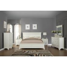 Laveno 012 White Wood Bedroom Furniture Set, Includes QUEEN & KING Bed, Dresser, Mirror, 2 Night Stands and Chest, King