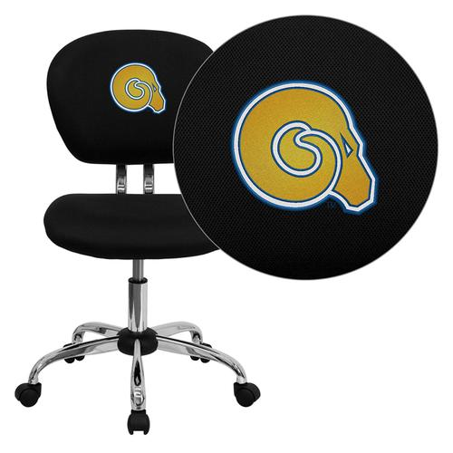 Albany State University Golden Rams Embroidered Black Mesh Task Chair with Chrome Base