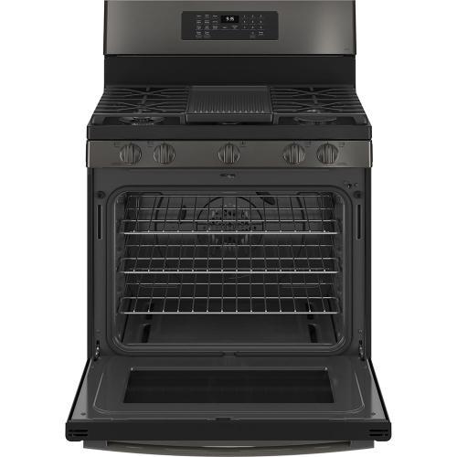 "GE Profile 30"" Freestanding Self-Clean Gas Range Black Stainless - PCGB935BPTS"