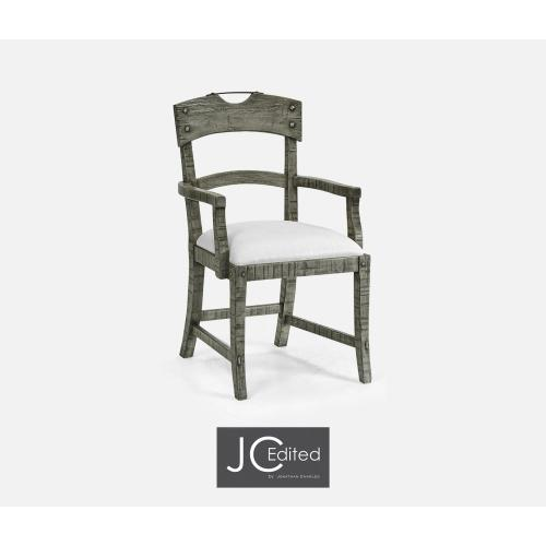 Planked Antique Dark Grey Armchair, Upholstered in COM