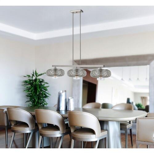 60W X 3 Wilshire Metal/Glass Pendan (Edison Bulbs Not included)