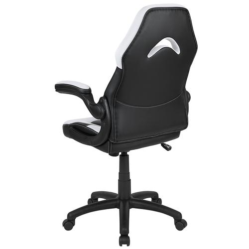 Gallery - X10 Gaming Chair Racing Office Ergonomic Computer PC Adjustable Swivel Chair with Flip-up Arms, White\/Black LeatherSoft