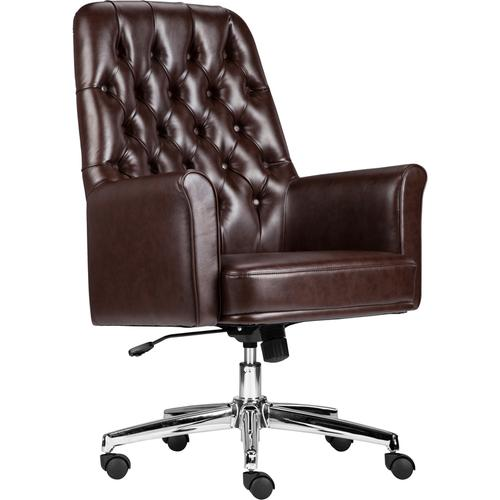 Gallery - Mid-Back Traditional Tufted Brown LeatherSoft Executive Swivel Office Chair with Arms