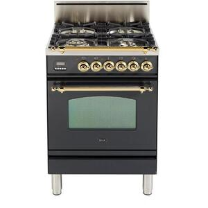 Nostalgie 24 Inch Gas Liquid Propane Freestanding Range in Matte Graphite with Brass Trim