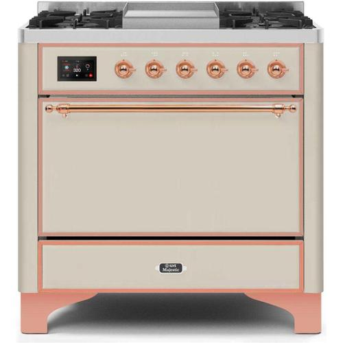 Gallery - Majestic II 36 Inch Dual Fuel Natural Gas Freestanding Range in Antique White with Copper Trim