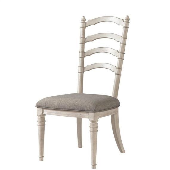Riverside - Upholstered Ladderback Side Chair - Smokey White Finish