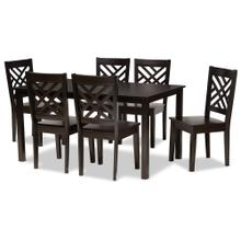 See Details - Baxton Studio Ani Modern and Contemporary Dark Brown Finished Wood 7-Piece Dining Set