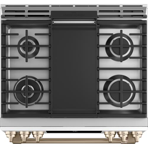 Café 30'' Slide-In Front Control Gas Oven with Convection Range Matte White