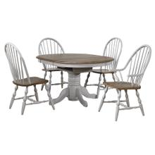 DLU-CG4260-30AGO5  Round or Oval Extendable Dining Table Set  2 Arm Chairs  Distressed Gray and Brown Wood