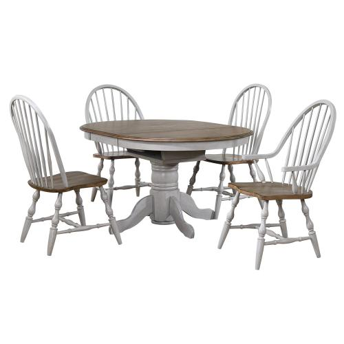 Round or Oval Extendable Dining Table Set - Distressed Gray & Brown (3 Piece)