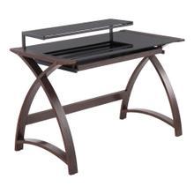 See Details - Bentley Office Desk - Dark Grey Wood, Black Glass