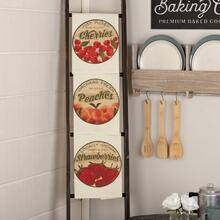 Farmer's Market Fresh Fruit Unbleached Natural Muslin Tea Towel Set of 3 19x28 (1-Cherries; 1-Peaches; 1-Strawberries)
