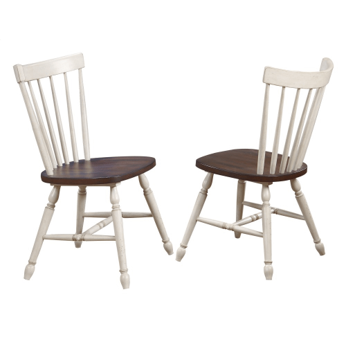 Windsor Spindle Back Dining Chair - Antique White and Chestnut Brown (Set of 2)