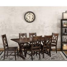 Hanover Annecy 7-Piece Mango Wood Dining Set: 76-In.Rectangular Table with Trestle Base and 6 Chairs, HDR004-7PC-WB