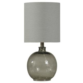 Mini Spanish Glass Ball Lamp in Smoke Finish White Drum Fabric Shade