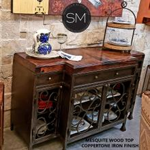 Bestseller Buffet cabinet - Solid Mesquite Wood top+ Iron Cabinet - Dark Rust Brown / Red Coral