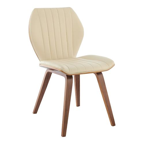 Armen Living - Ontario Cream Faux Leather and Walnut Wood Dining Chairs - Set of 2