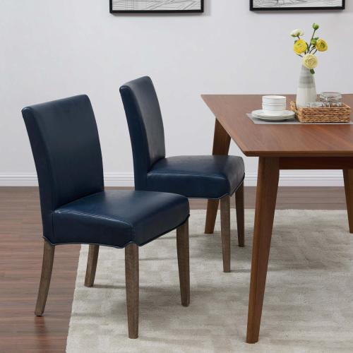 Beverly Hills Bonded Leather Dining Side Dining Side Chair Drift Wood Legs, Vintage Blue