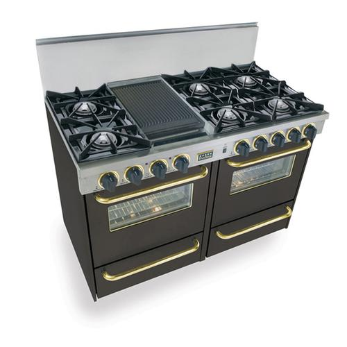 """48"""" All Gas Range, Open Burners, Black with Brass Trim"""