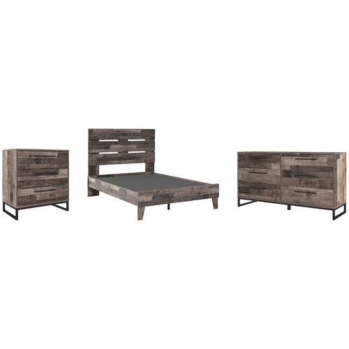 Full Platform Bed With Dresser and Chest