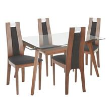 Aspen 5-piece Dining Set - Walnut Wood, Clear Glass, Charcoal Fabric