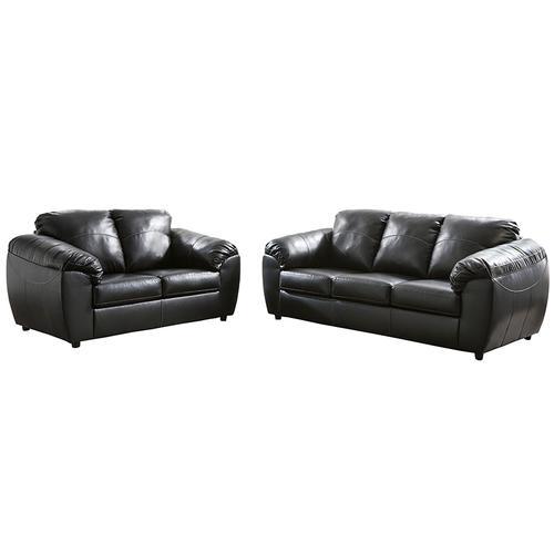 Benchcraft Fezzman Living Room Set in Black Leather [FSD-6529SET-BLK-GG]