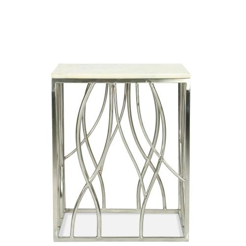 Square Side Table - Polished Steel Finish