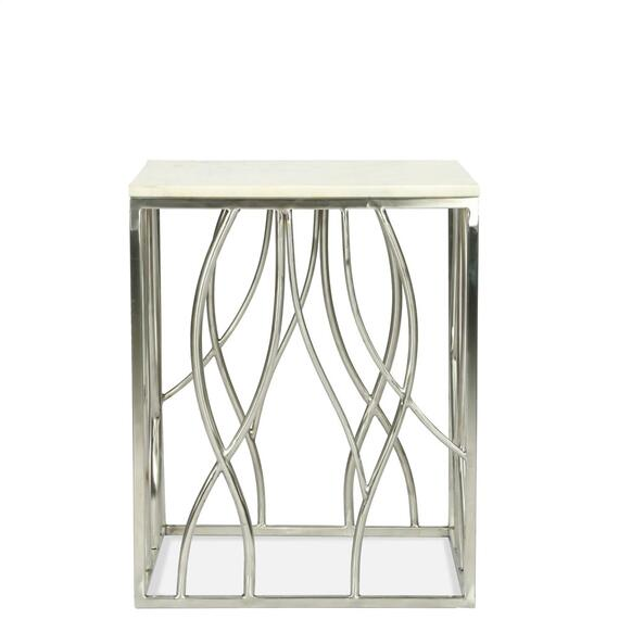 Riverside - Square Side Table - Polished Steel Finish