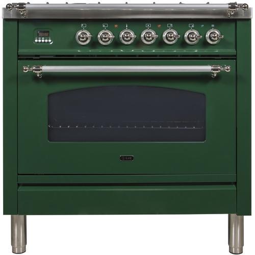 36 Inch Emerald Green Dual Fuel Natural Gas Freestanding Range