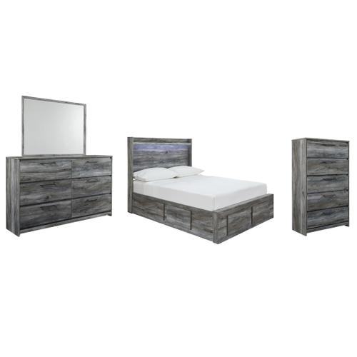 Product Image - Full Panel Bed With 4 Storage Drawers With Mirrored Dresser and Chest