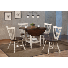 DLU-ADW4242S-C40AW5P  5 Piece Round Drop Leaf Dining Table Set with Shelf  Antique White and Chestnut Brown