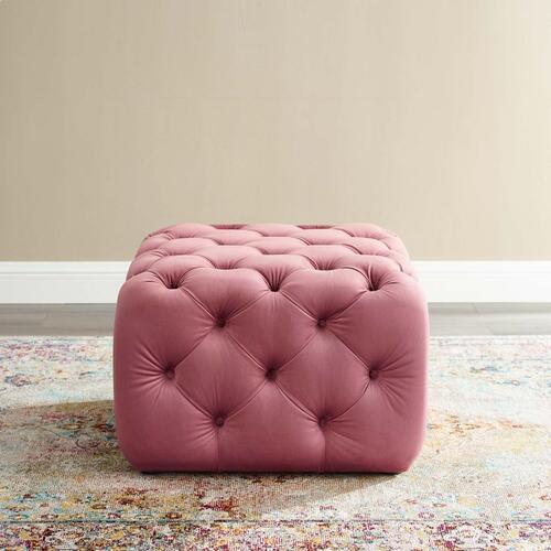 Amour Tufted Button Square Performance Velvet Ottoman in Dusty Rose